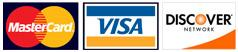 We accept payment in the form of cash, check and MasterCard, Visa and Discover.